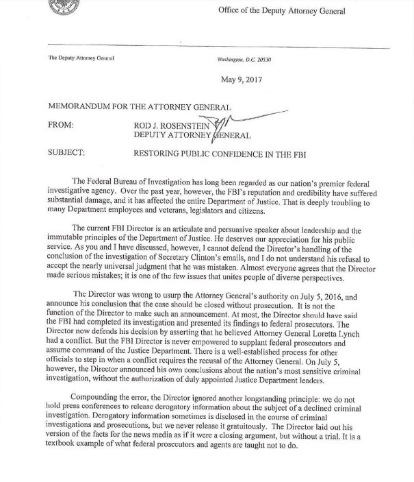 letter from deputy attorney general rod rosenstein laying out why