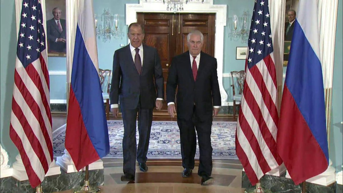 This morning, Secretary Tillerson is meeting with #Russia's Foreign Minister Lavrov at the State Department.