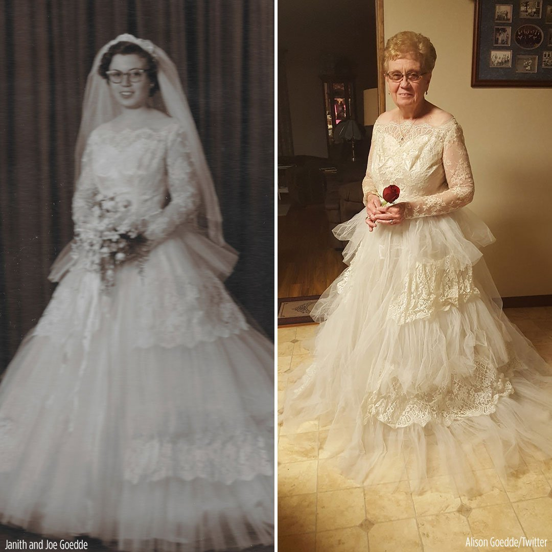 60 years later 80 year old great grandmother tries on for Wedding dress for 60 year old