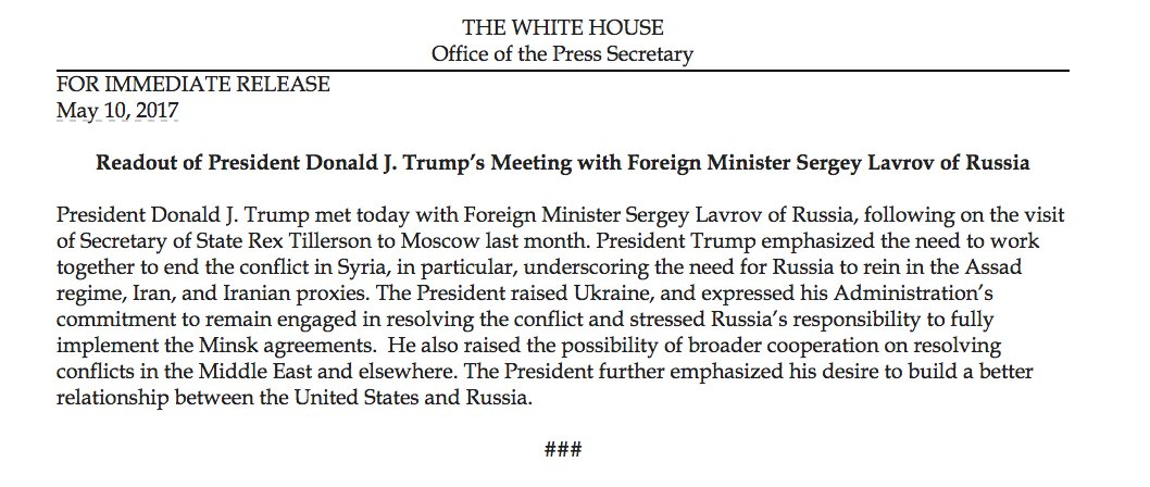 Readout of President Donald J. Trump's Meeting with Foreign Minister Sergey Lavrov of Russia https://t.co/3bwwk6Y7Wv