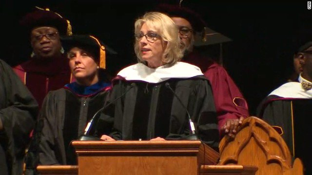 Education Secretary Betsy DeVos faces boos and turned backs at Florida commencement