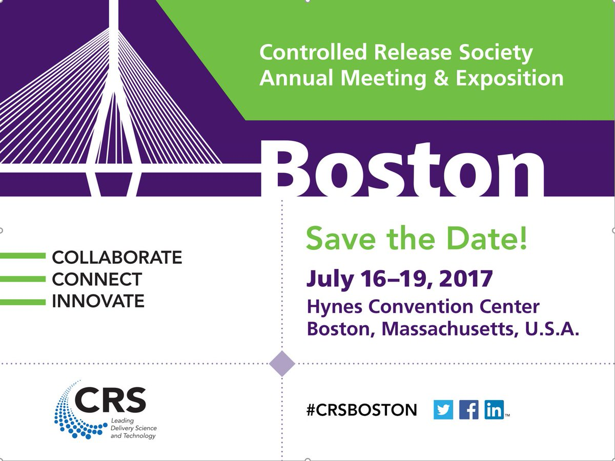 Controlled Release Society (CRS) 44th Annual Meeting & Exposition – 16.07.2017