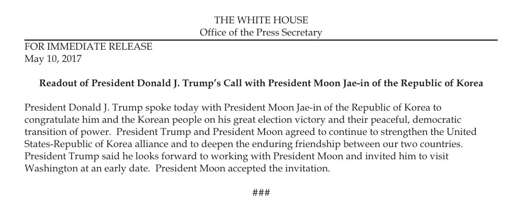 Readout of President Donald J. Trump's Call with President Moon Jae-in of the Republic of Korea https://t.co/Z4X97ve7C6