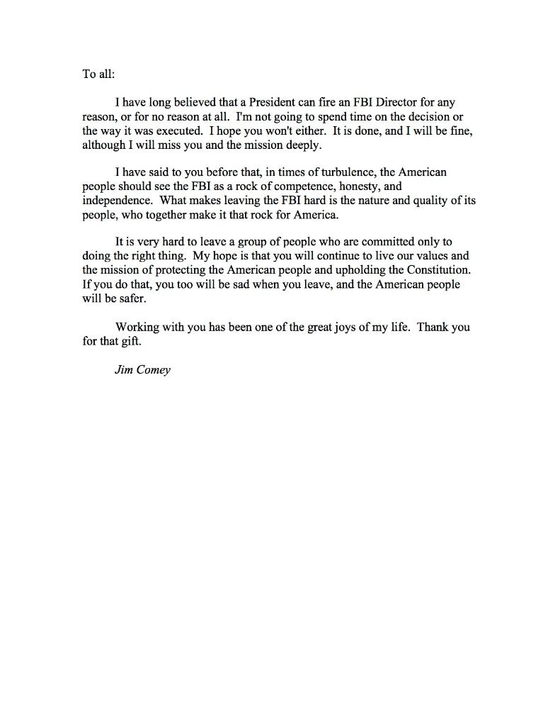 Comey sends employees FBI farewell letter after resignation – Resignation Goodbye Letter