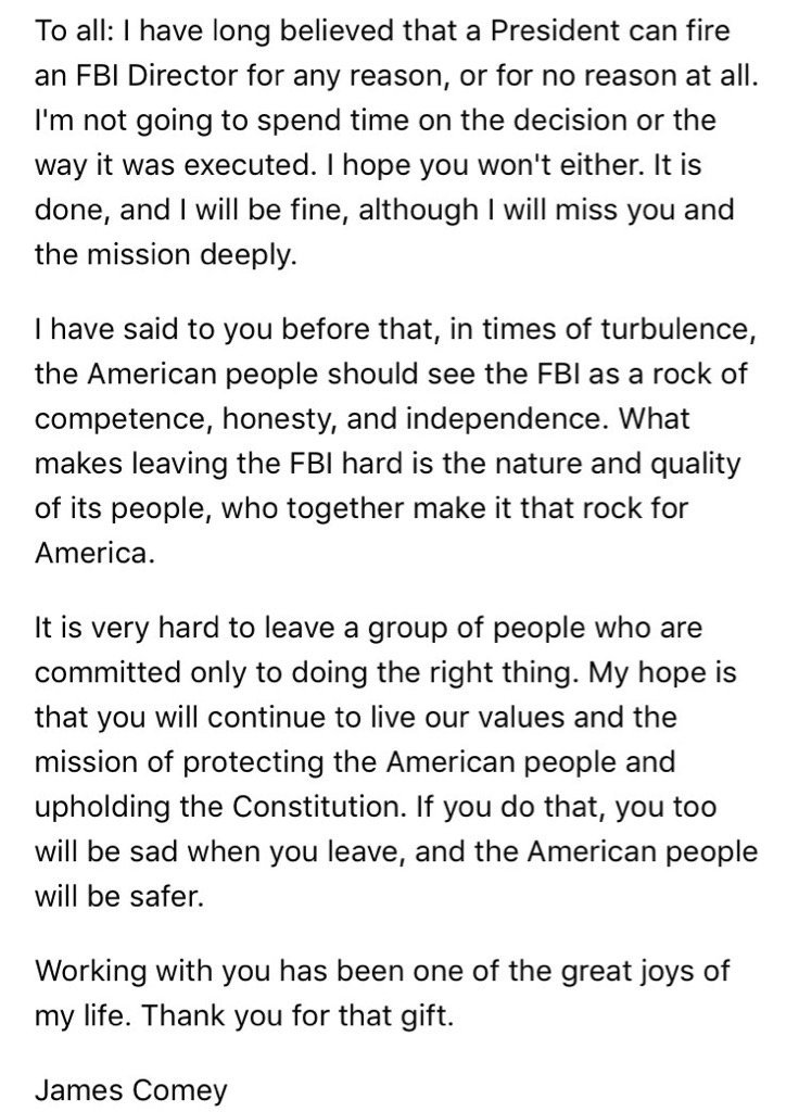 Classy farewell letter from comey to fbi employees scoopnestcom