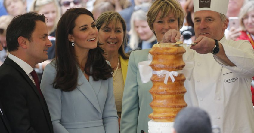 Kate Middleton was presented with a multi-tiered cake on her first solo trip to Luxembourg: