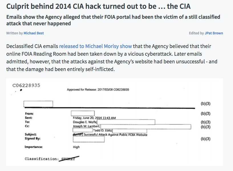 CIA falsely alleged that it had been hacked