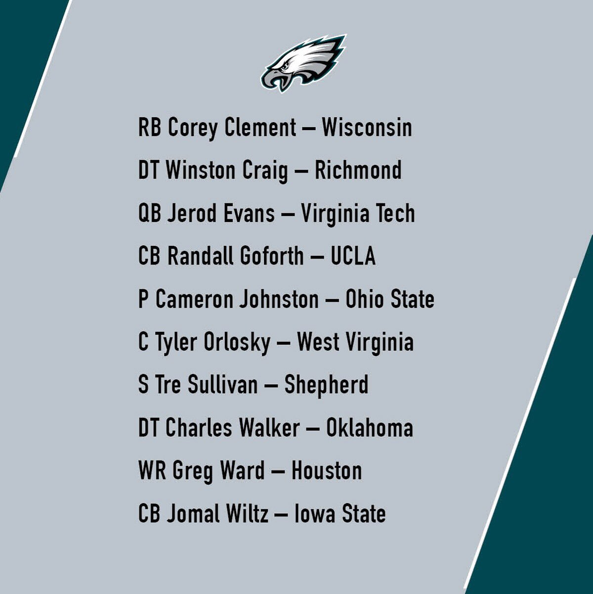 #Eagles have signed 10 undrafted free agents ahead of this weekend's rookie mini-camp. #FlyEaglesFly https://t.co/NkOGHPA6PY