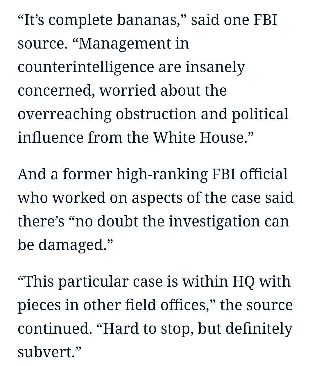 FBI agents are sure the White House is about to kneecap the Russia probe. https://t.co/oY8WaSfW84 https://t.co/fs84A4stsf
