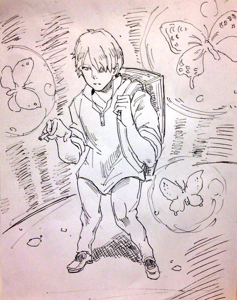 > 蟲師のギンコさんお願いします  #odaibako蟲師はコンビニ本で読んだことあって、そのイメージで描いたんだ