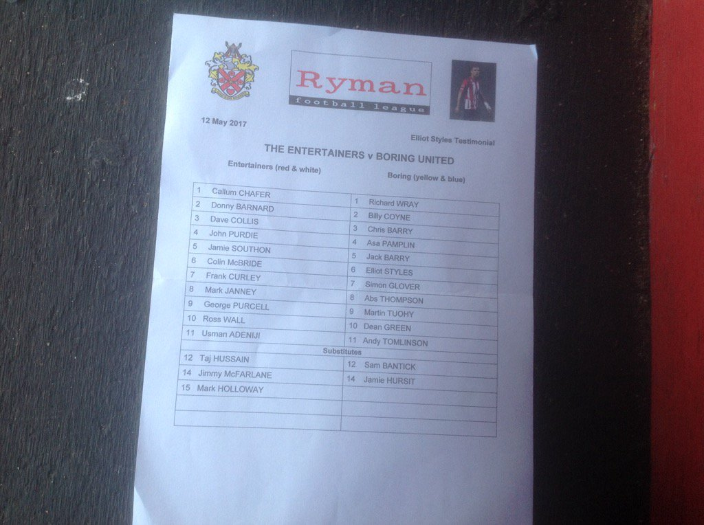test Twitter Media - RT @AFCHornchurchLv: Tonight's teams .. for Elliot's testimonial. https://t.co/GPZThh2oY4