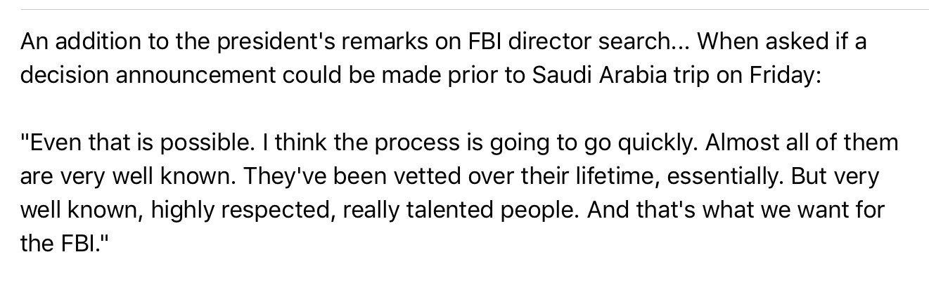 Trump via pool on FBI director search https://t.co/j39eoRK6zE