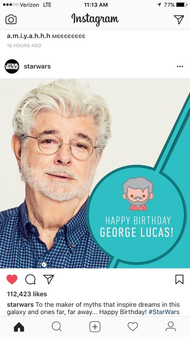 Happy Mothers freaking day. Also happy birthday to my boy George Lucas!