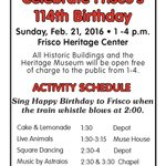 Come celebrate Friscos 114th birthday Sunday, Feb 21 at 1:00 at the Frisco Heritage Center. Whos going? :) https://t.co/mnZBYx5xDx