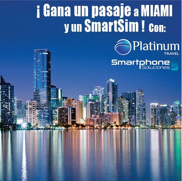 Síguen en INSTAGRAM A @Smartphonesoluciones y @platinumtravel0 participa por 1 PASAJE A MIAMI Y 1 #SmartSim DALE RT https://t.co/FHUGOnLF2a