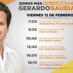 ¡Buenas noches! Te compartimos la agenda de @gerardogaudiano candidato a la alcaldía de #Centro #Viernes #SomosMás. https://t.co/pDJYx4E7T8