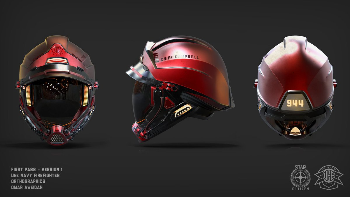 Here's some more tasty helmet work from Omar… UEE Navy Firefighter! #StarCitizen https://t.co/OueaOGXwi8