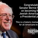 Congratulations @BernieSanders on being there first Jewish-American to win a Presidential primary! #NHPrimary https://t.co/ae0epDZb0R