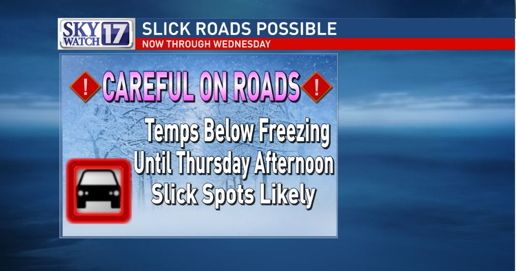 Slick roads will be with us through Thursday AM.  Temps will stay below freezing.  Careful out there!  #skywatch17 https://t.co/QjQEKjTwNh