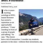"""One of our advisors, Prof. Brewster was voted best professor in this years """"Best of Morgantown"""" magazine, we agree! https://t.co/JezPBLs2za"""
