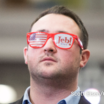 """Jeb Bush supporter Ryan Miner sports his """"Jeb!"""" sunglasses at an election night party in Manchester. #NHPrimary https://t.co/PMC2K6BUXU"""