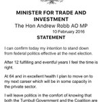 ITS OFFICAL: @AndrewRobbMP retiring from politics at the next election #auspol @abcnews @ABCNews24 https://t.co/Vp9ALAl5Kf