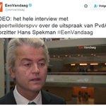 """Wilders reageert op uitspraak Spekman PvdA dat hij """"gevaarlijk is voor democratie"""" (video). https://t.co/qOwJvceT2n https://t.co/SCMVhxElqf"""