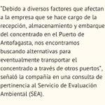 Al parecer concentrado de cobre se va a Puerto de #mejillones región de #Antofagasta #chile https://t.co/1TnN52QZop
