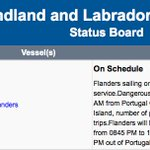 Flanders on Bell Island-Portugal Cove ferry service this morning #nltraffic https://t.co/v2J0ZOHo4H