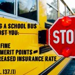 """Did you know """"passing a school bus"""" will increase your vehicle insurance rate? #nltraffic #schoolzonesafety https://t.co/151zQU9SBx"""