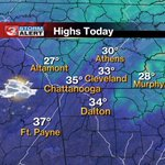 Light snow showers ending, then cold/blustery this afternoon.  Here are the expected area highs. #CHAwx https://t.co/HGYtP58aPB