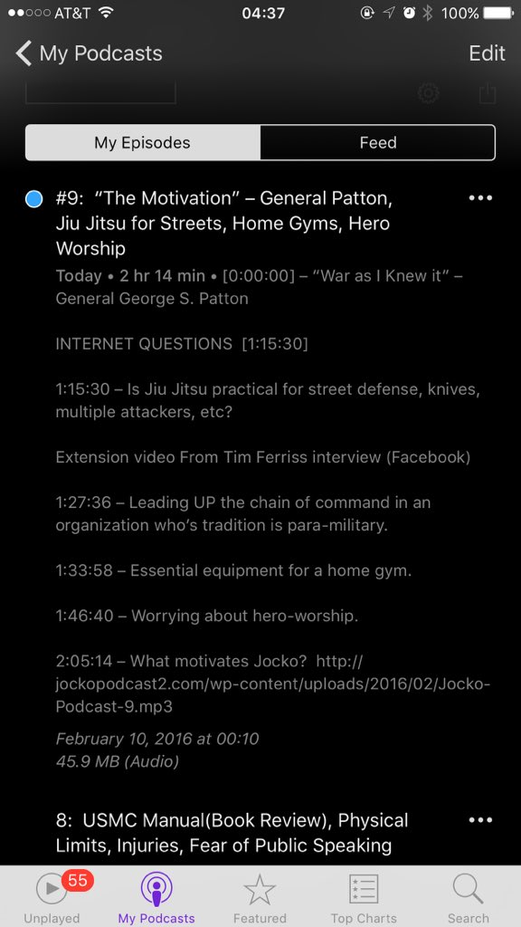 JOCKO PODCAST #9. See what @tferriss & @joerogan started. Thanks to all for listening and spreading the word... https://t.co/FnukGNUiWN