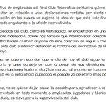 Carta abierta de los empleados del Real Club Recreativo de Huelva. #Recre https://t.co/e4HLJbTjtb