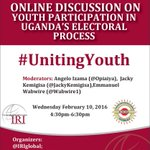 Join us in 20 min 4 online discussion on youth participation in electoral processes #Uganda #UnitingYouth #Elections https://t.co/01jqicE0hJ