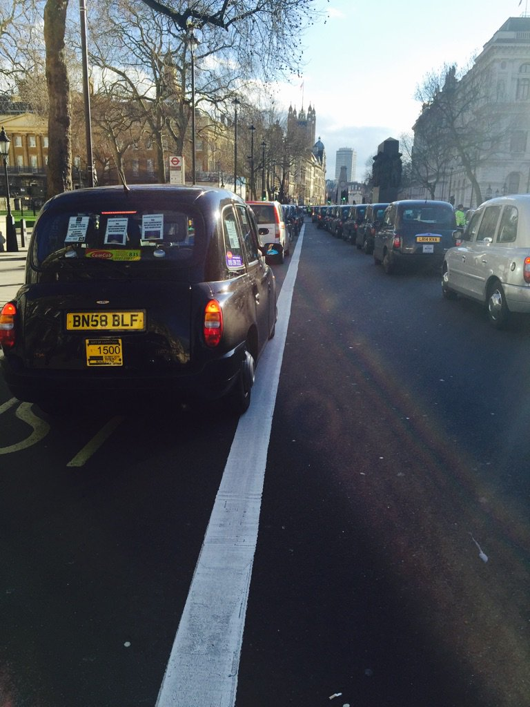 Liverpool cab on demo in Whitehall https://t.co/cvSjro9aBX