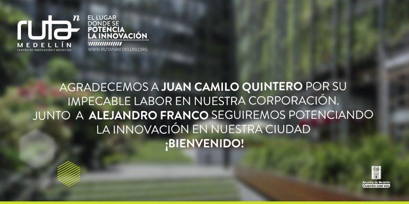 Reconocemos la excelente gestión de @JuanCQuinteroM y damos una calurosa bienvenida a @afrancorpo a nuestro equipo. https://t.co/Y6Qlb33lYj