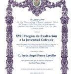 XVII Pregón de Exaltación a la Juventud Cofrade https://t.co/C7OH0n0xAs