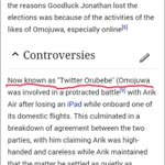 Oh snap!! They didnt ???????????????????????????????????? Twitter Orubebe on his Wikipedia profile! Yall play too damn much! https://t.co/bEr9kph9nx