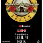 Guns N Roses will be playing a SECOND night at Foro Sol in Mexico City on 4/20. Tickets on-sale 2/16. #slashnews https://t.co/tdE3p5ijt2