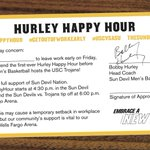 Calling all #SunDevils! #GetOutOfWorkEarly thanks to @BobbyHurley11! https://t.co/eAVCjCKwus #HurleyHappyHour ???????? https://t.co/AAg6rdwilL