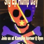 """Join us for our first """"SigEp Hump Day"""" @ 9 @ Kampus Korner tonight!! Bring your friends!! https://t.co/GiPc1pUHGf"""