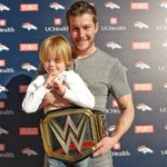 A @WWE World Championship belt arrived at #Broncos HQ yesterday.  Britton Colquitt and son, Nash, took advantage! https://t.co/ambKCZ0qqn