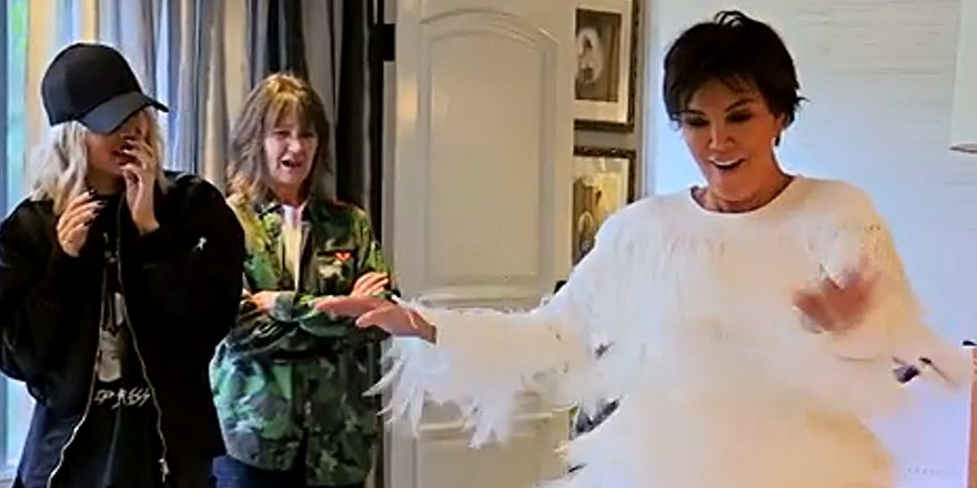 Kim Kardashian jokes Kris Jenner looks like she's 'in a car wash' as she tries on dresses