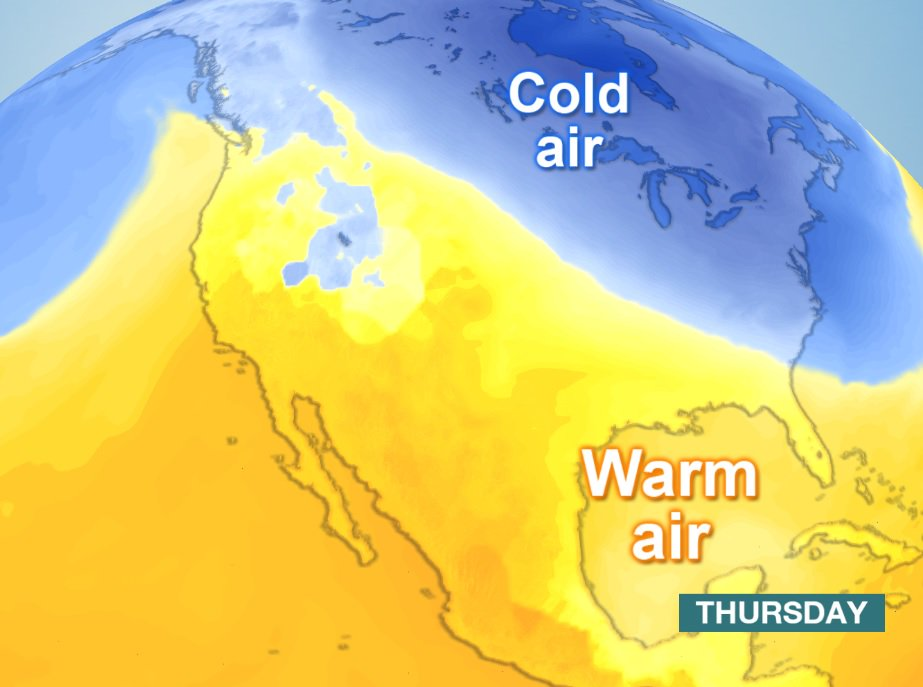 Very cold air continues to feed south across the USA during Thursday. https://t.co/LXcouRPkOE   AC