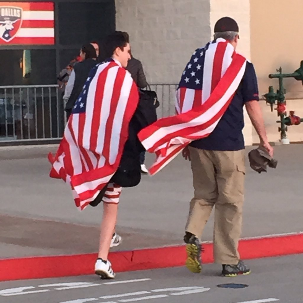 U-S-A! Fans arriving to cheer the women's #soccer team on the #RoadToRio @ToyotaStadiumTX @NBCDFW