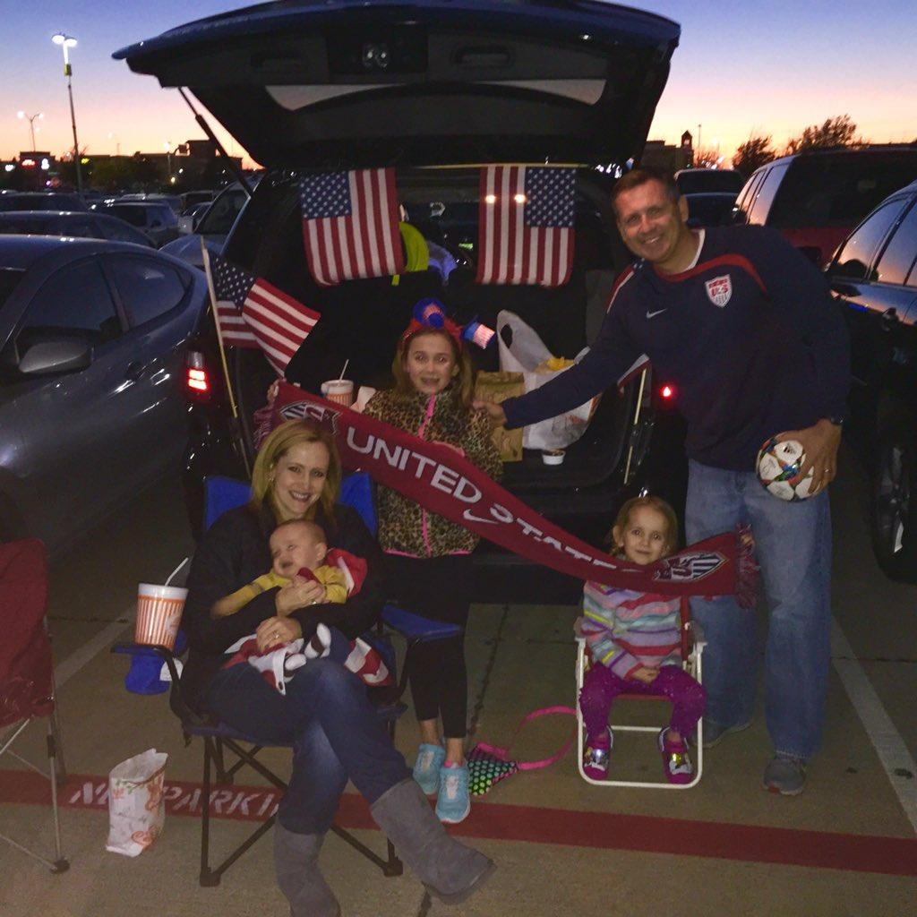 That's the spirit! The Dutchik family tailgating @ToyotaStadiumTX before USA soccer game. #RoadToRio @NBCDFW