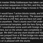 #Theri Stunt master @dhilipaction about the action blocks in the movie. #TheriStunts https://t.co/FWQSCBohAn