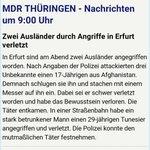 Zwei Angriffe auf Migrant*innen in #Erfurt gestern Abend. #Kaltland #Rassismus  via @mdr_th https://t.co/zqO3HMQlJX
