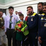 Shahid Afridi , Javed Afridi, Wahab and Hafeez visited the airport to receive the students of #APS - 7 days back. https://t.co/W9xq24xuT9