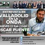 Hoy a las 13:00 @clarasaavedra entrevista al alcalde d #Valladolid, @oscar_puente_. Deja tus preguntas. @OndaCero_es https://t.co/ij50vjXkNK